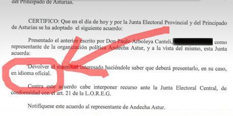 Respuesta de la Xunta Eleutoral al escritu d'Andecha Astur
