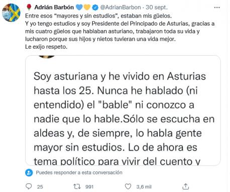 Tweet de respuesta d'Adrián Barbón a xerente de Turismu de Ferrol