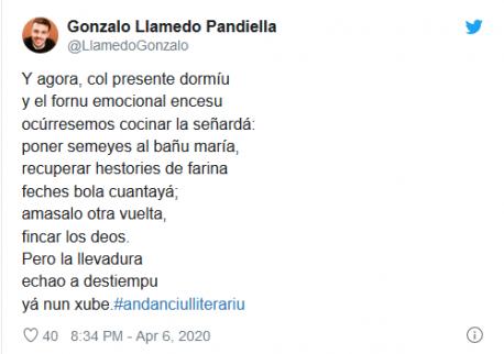 Tweet Gonzalo Llamedo concursu #andanciulliterariu