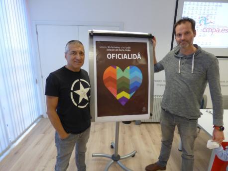 Xune Elipe y Carlos Pulgar presentación manifestación oficialidá 16-O