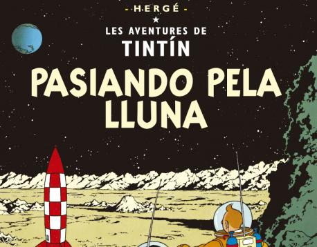Tintín 'Pasiando pela Lluna' recortada